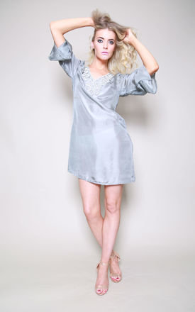 Raffles Pure Silk Grey Kaftan Top by Kitten Beachwear
