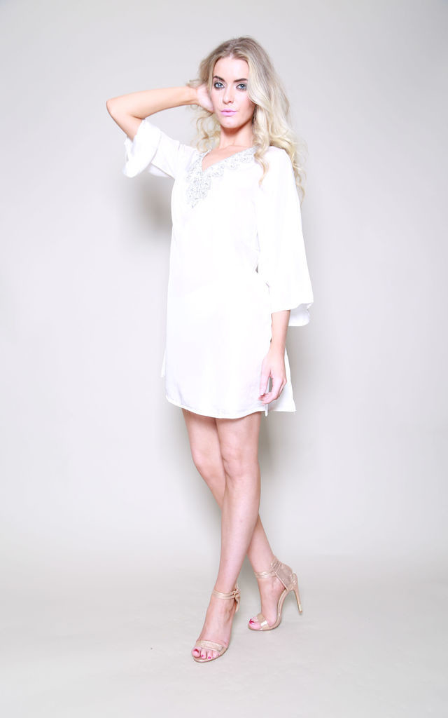 Dubai Silk Winter White Petite Kaftan Top by Kitten Beachwear