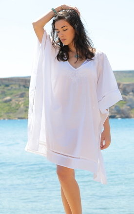 Hand embroidered cotton kaftan with lace border by likemary Product photo