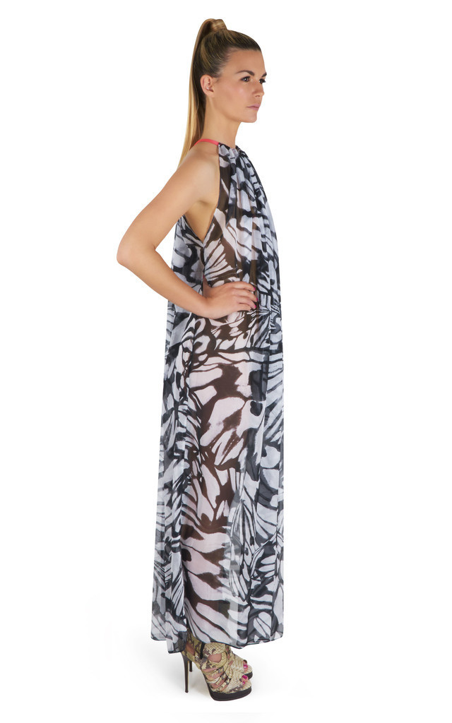 Isabella Halter Neck Maxi Dress in Butterfly Print by Coco Riko Ibiza