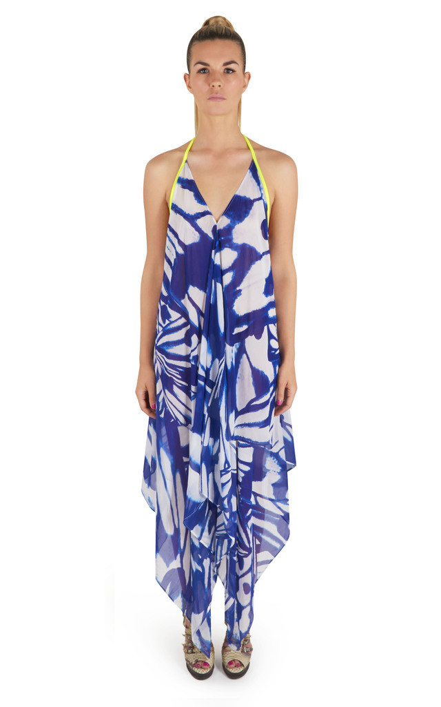 Veronique V Neck Maxi Dress in Butterfly Print by Coco Riko Ibiza