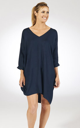 V-neck throw on drape dress - navy by Chic Hangers London Product photo