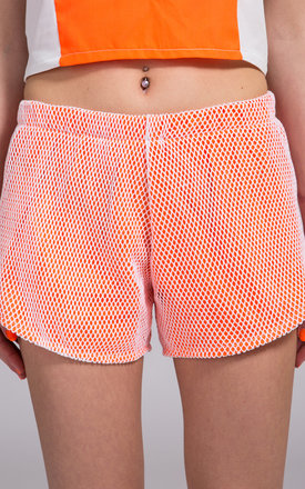 Mesh Neon Orange See You Not Shorts by NO FIXED ABODE
