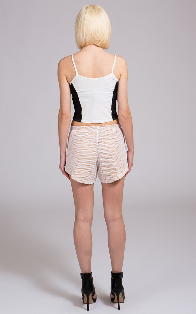 Mesh Beige See You Not Shorts by NO FIXED ABODE