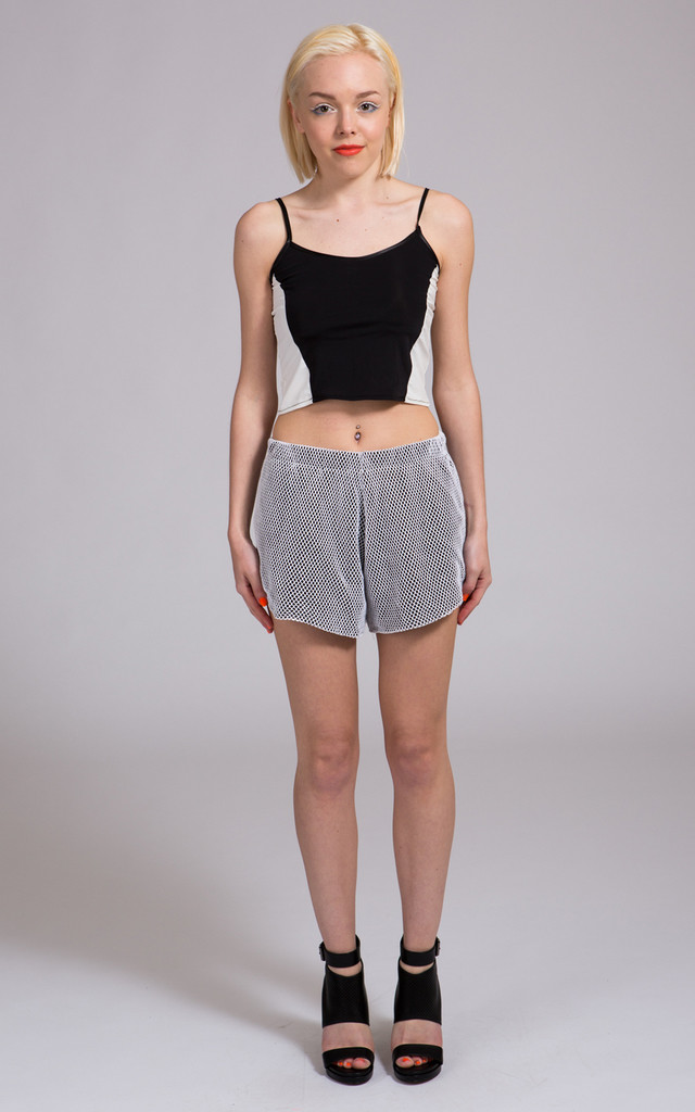 White Mesh Shorts with Black Stretch Lining by NO FIXED ABODE
