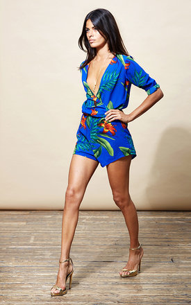 Tiago playsuit in blue tropical by Dancing Leopard Product photo