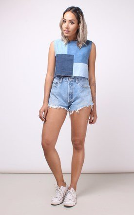 Patch work denim crop top by House of Jam Product photo