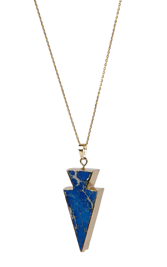 Gold Plated Electric Blue Point Pendant by Helix and Felix