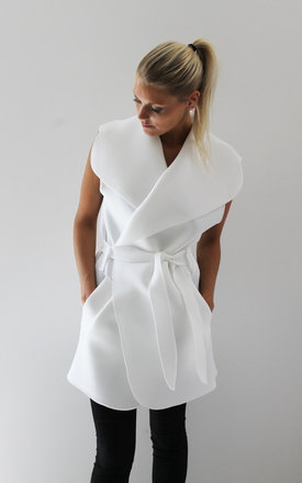 White neoprene sleeveless coat by Scarlett Black London Product photo
