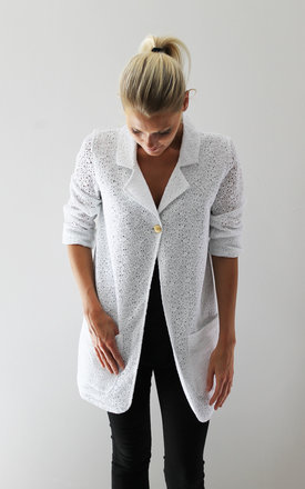 White embroidered cotton lace jacket by Scarlett Black London Product photo