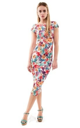 Floral print open back midi dress by URBAN TOUCH Product photo