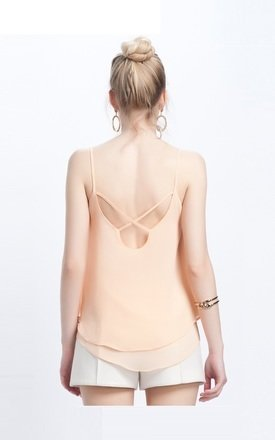 Cross Back Double Layer Cami Top by URBAN TOUCH
