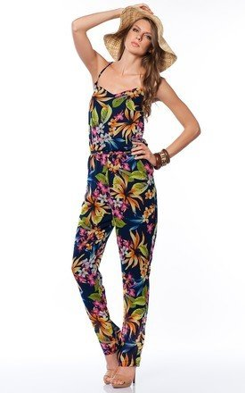 Floral print cross back jumpsuit by URBAN TOUCH Product photo