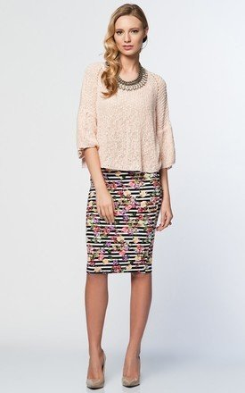 Jersey fabric elasticated stripe floral pencil skirt by URBAN TOUCH Product photo
