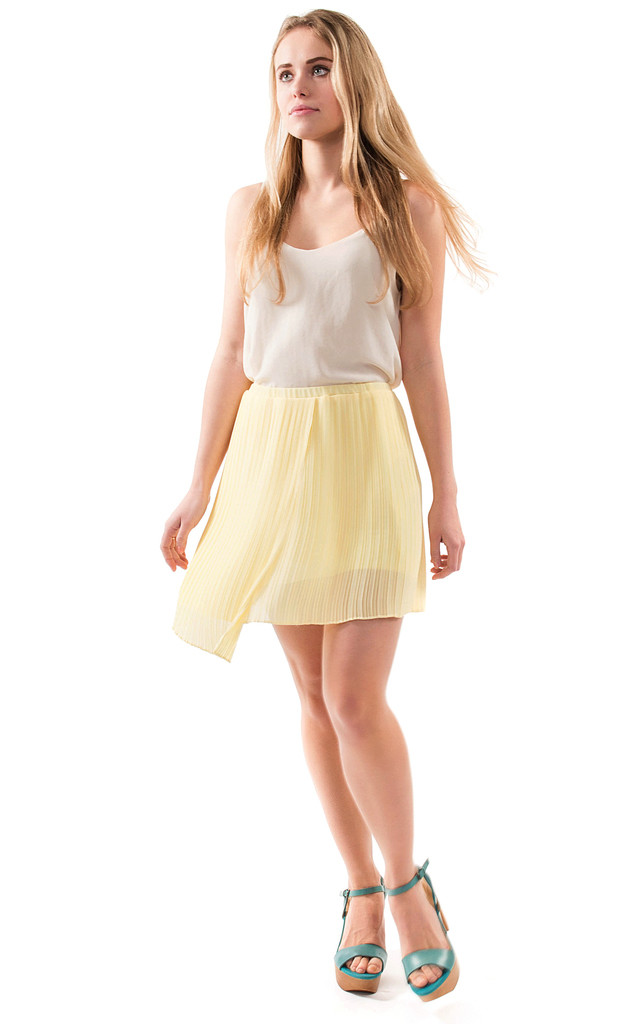 Yellow Pleated Chiffon Elasticated Waist Wrap Skirt by URBAN TOUCH