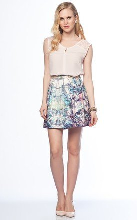 Forest print pleated a-line skirt by URBAN TOUCH Product photo