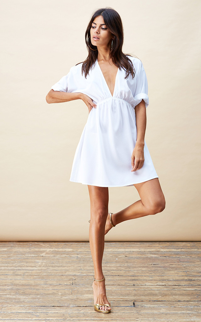 Santorini Tunic Dress in White image