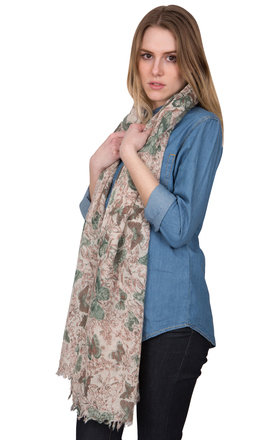 Limited edition handwoven wool scarf in butterfly print by likemary Product photo