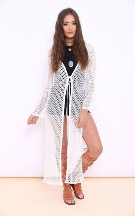 Nadia white crochet kimono dress by Dolly Rocka Product photo