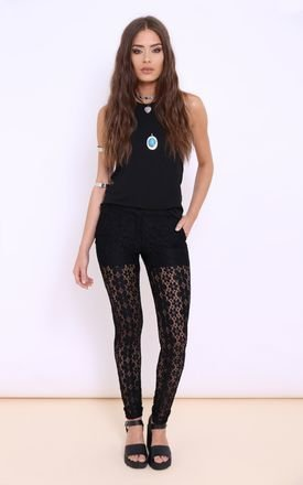 Miley black crochet patterned trousers by Dolly Rocka Product photo