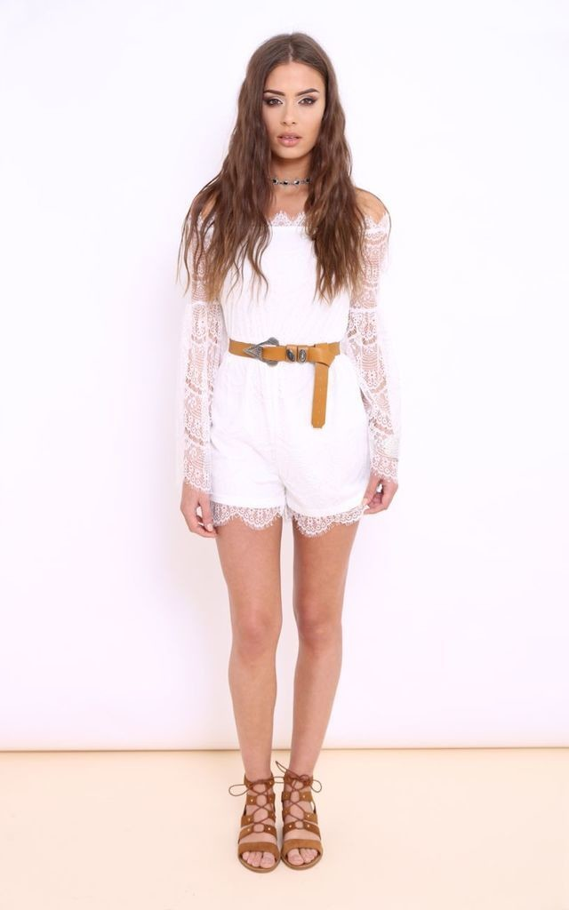 Aurora White Lace Bardot Playsuit by Dolly Rocka