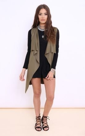 Georgie khaki sleeveless summer waterfall jacket by Dolly Rocka Product photo