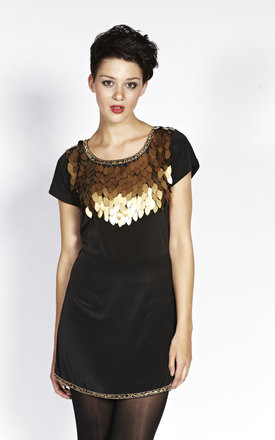 Liquorish Black Mini Dress With Gold Leaves Appliques