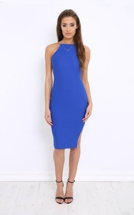 Sapphire blue backless bodycon midi dress by LullaBellz Product photo