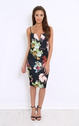 Lilianna black floral v bar dress by LullaBellz Product photo