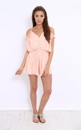 Lissa pink ruffle playsuit by LullaBellz Product photo