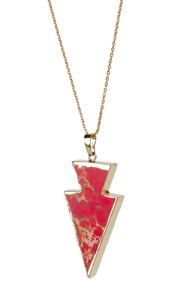 Gold Plated Red Arrow Point Pendant by Helix and Felix