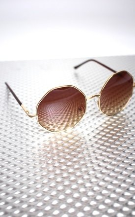 Octagon brown tinted 90's sunglasses by Cats got the Cream Product photo