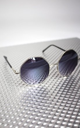 Octagon gun metal grey tinted 90's sunglasses by Cats got the Cream Product photo