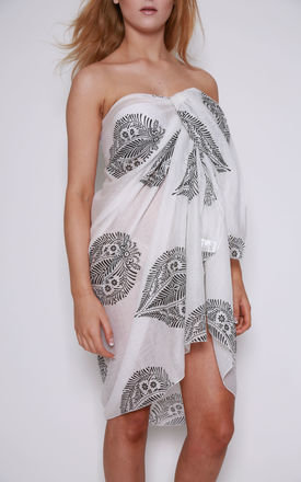 White And Black Leaf Print Beach Sarong by Kitten Beachwear Product photo