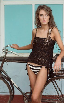 Nyasa daisy crochet lace camisole in black by LAM & Co Product photo