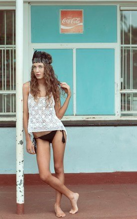 Nyasa daisy crochet lace camisole in white by LAM & Co Product photo