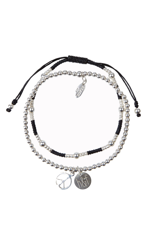 Set Of Two 925 Sterling Silver Peace Friendship Bracelets by Helix and Felix