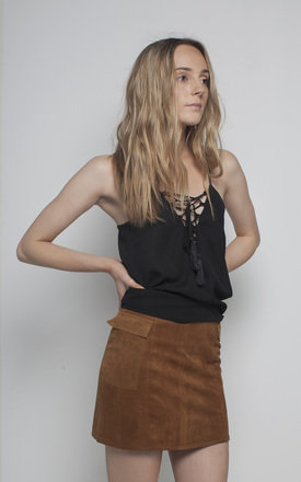 Camel faux suede skirt by We Run This Product photo