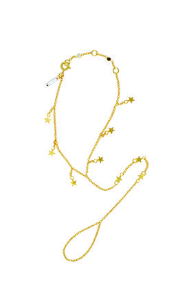 Gold falling star hand chain by TADA & TOY Product photo