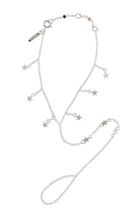 Silver falling star hand chain by TADA & TOY Product photo