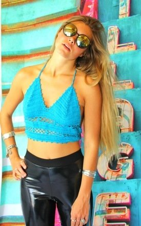 Venus crochet bralet (blue) by Elsie & Fred Product photo