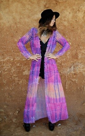 Phoenix sky tie die maxi kimono by Indigo East Product photo