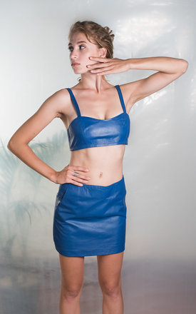 Blue leather skirt by TIA Product photo