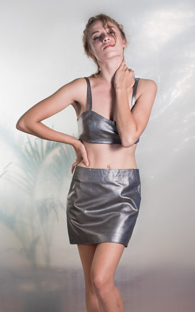 Silver leather skirt by TIA Product photo
