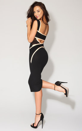 Quontum black::Nude wrap strap plunge back midi dress by Quontum Product photo