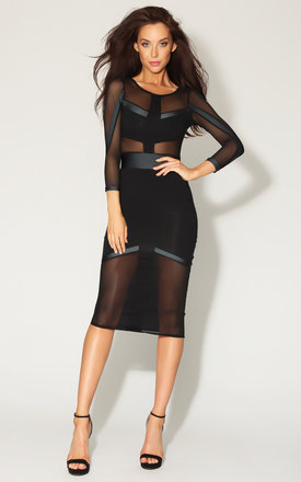 Quontum black::Grey mesh panelled midi dress by Quontum Product photo