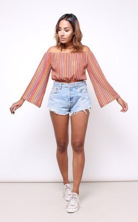 70s inspired lace bell sleeve crop top  by House of Jam Product photo