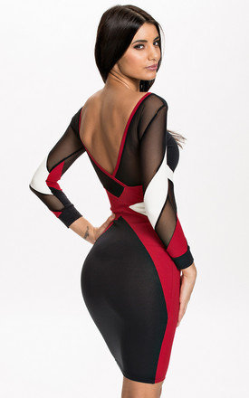 Quontum deep red::Black mesh panelled dress by Quontum Product photo