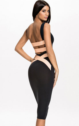 Quontum plunge back midi dress with nude straps by Quontum Product photo