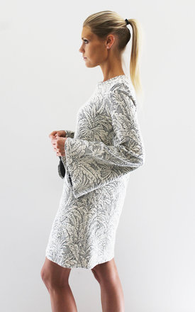 Palm jacquard bell sleeve dress by Scarlett Black London Product photo